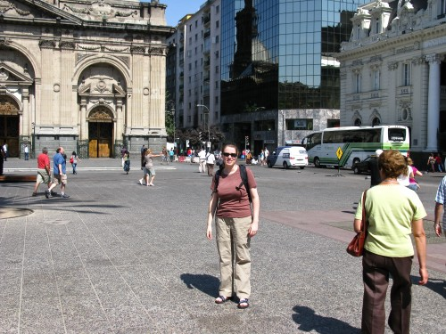 Leanne in Plaza de Armas, Santiago