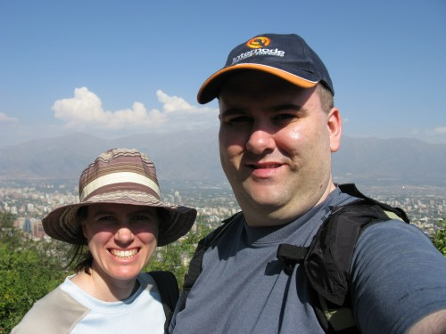 Simon and Leanne at Cerro San Cristobal, admiring the views of Santiago, Ch