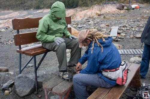 Leanne has crampons fitted - Perito Moreno Glacier - El Calafate, Argentina