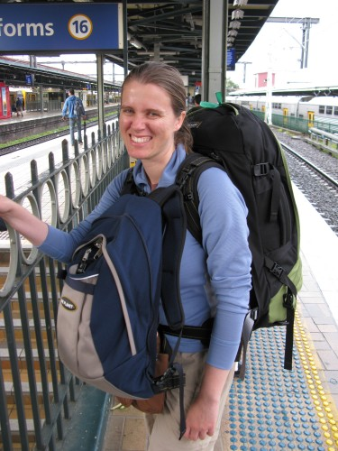 Leanne with her pack - Sydney Central Station