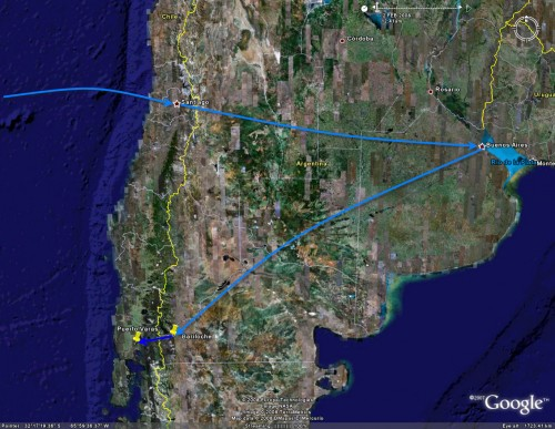 Bariloche to Puerto Varas Satellite View