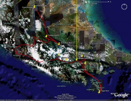 Cruceros Australis - satellite view