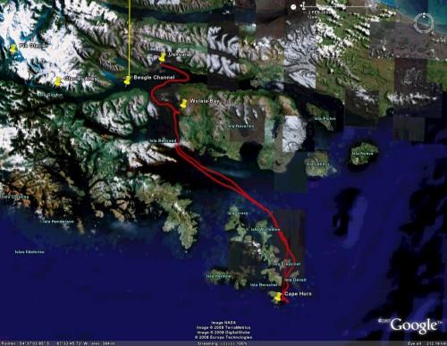 Cruceros Australis day 4 - satellite view