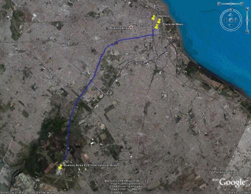 EZE to Telmotango Satellite View