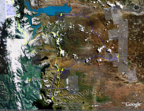 Puerto Natales to El Calafate - satellite view