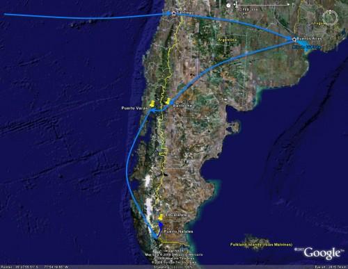 Puerto Natales to El Calafate - trip overview