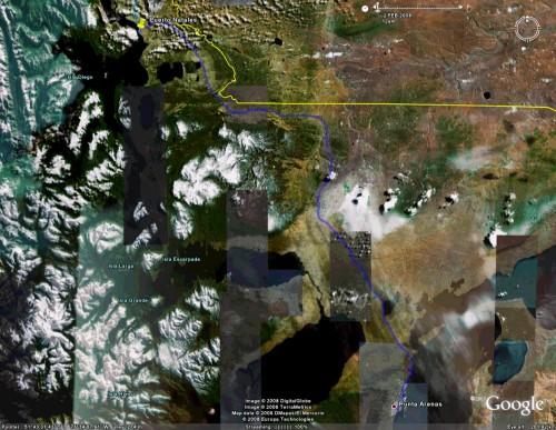 Puerto Natales to Punta Arenas - satellite view