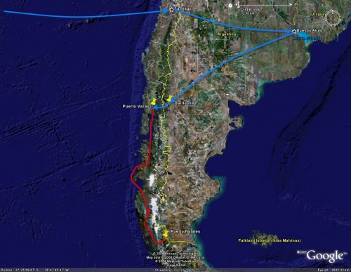 Puertp Varas to Puerto Natales - trip overview