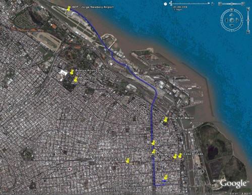 Telmotango to Jorge Newbery Airport (AEP) - Satellite View