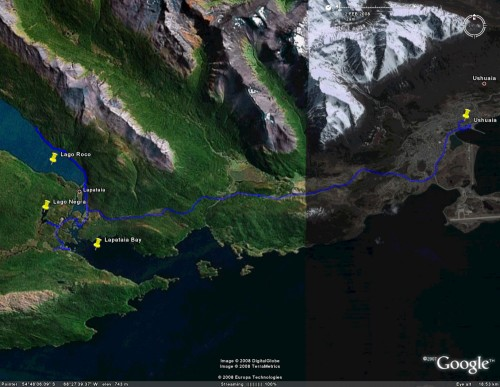 Tierra del Fuego National Park - satellite view