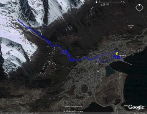 Glacier Martial, Ushuaia - satellite view