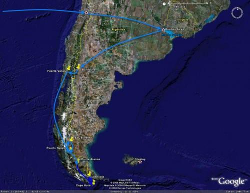 Ushuaia - trip overview satellite image