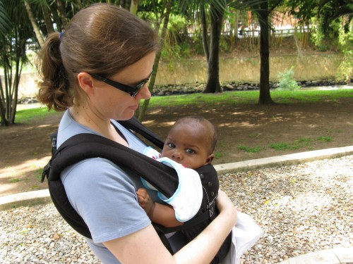 Leanne and Andres going for a walk with the Ergo baby carrier