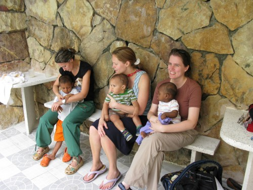 Some of the adoptive mothers and their children (the boy on the far left has two older sisters as well!), representing Italy, Canada and Australia (from left to right)