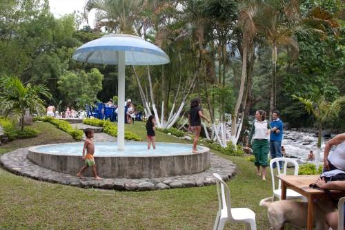 The Italian family enjoying the wading pool