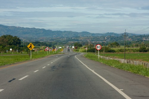 Heading south to Santander de Quilichao - the town is visible at the base of the mountains