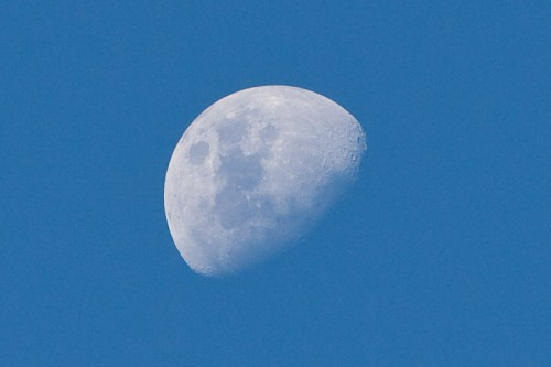 Moon - taken handheld with Canon 70-200mm f/2.8L IS lens (image cropped)