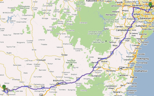 Ryde to Yass via Goulburn